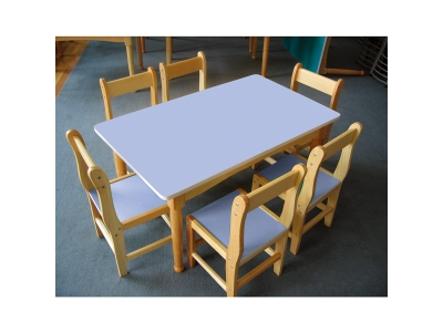 Color environment-friendly melamine board Korean table and chair