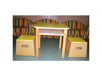 Square desks and chairs