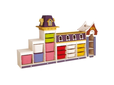 A set of plastic toys storage cabinet