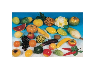 Realistic plastic fruits and vegetables